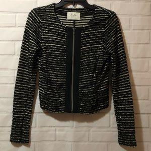 Madewell Hi Line Black Striped Sequin Zip Jacket